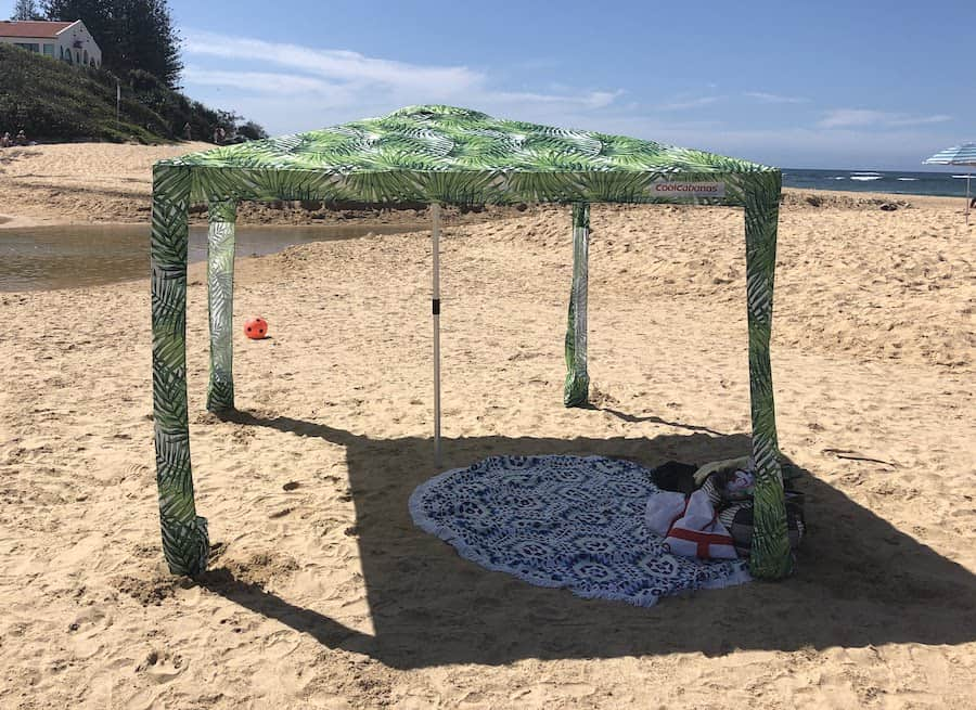 Cool Cabanas Review picture of beach shelter to show product