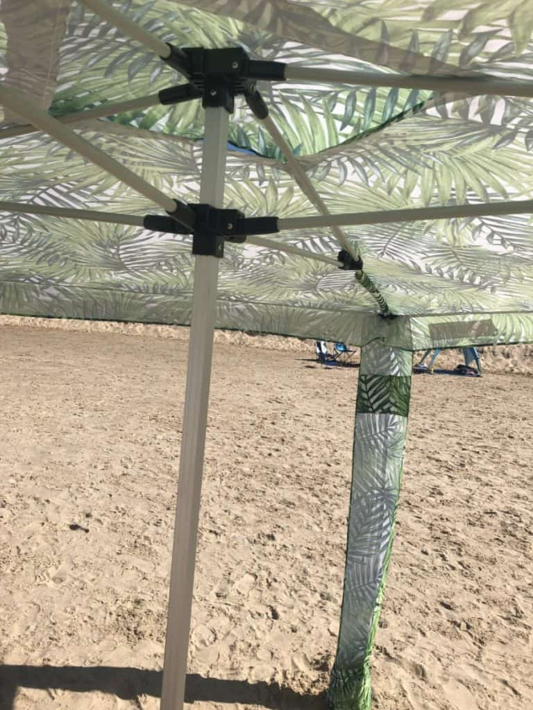 beach umbrella underneath