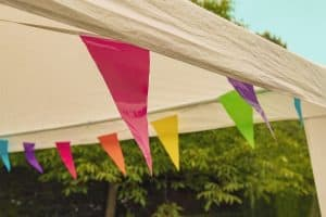 how to decorate a pop up canopy - a canopy tent with flags